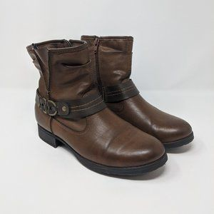 Earth Origins Brown Faux Leather Side Zip Boot